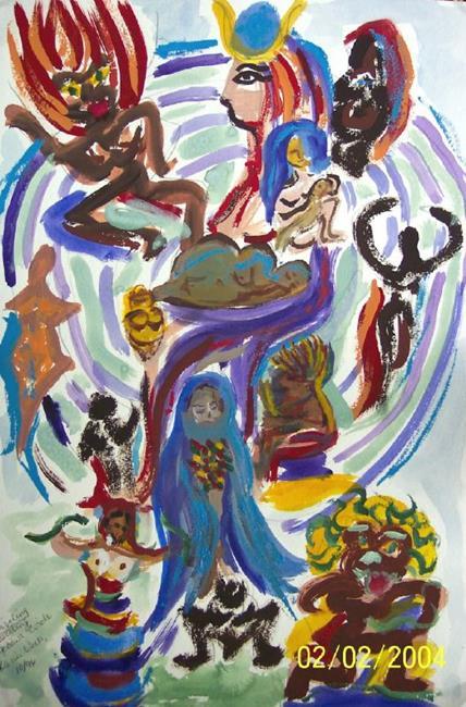 Art: A Spiraling Wheel of Goddesses by Artist Karin Elizabeth Weiss