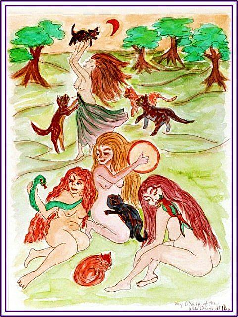 Art: Maenads at Play by Artist Karin Elizabeth Weiss
