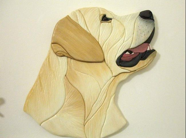 Art: GOLDIE Yellow Labrador Original Painted Intarsia Art by Artist Gina Stern