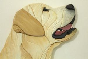 Detail Image for art GOLDIE Yellow Labrador Original Painted Intarsia Art