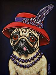 Art: Red Hat Pug with Pearls by Artist Melinda Dalke