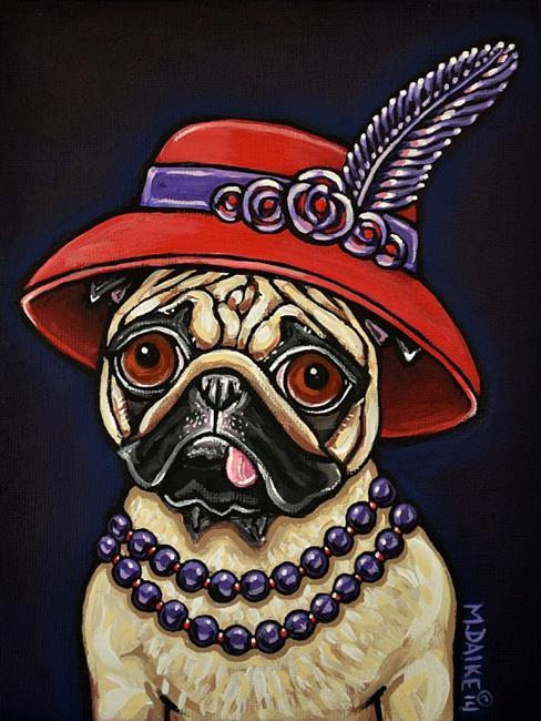 Art: Red Hat Pug with Pearls by Artist Melinda Dalke