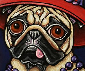 Detail Image for art Red Hat Pug with Pearls