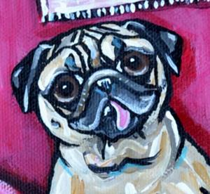 Detail Image for art Three Pugs and the Pink Couch