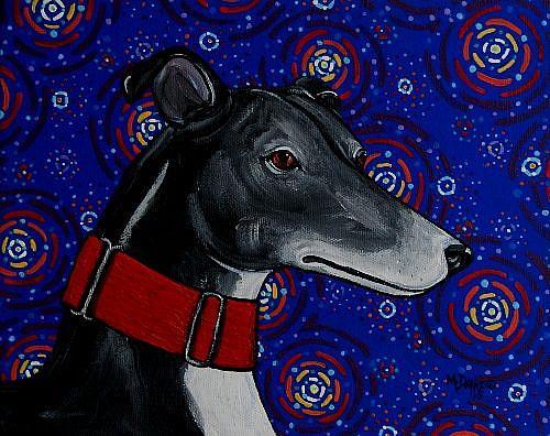 Art: Starry Greyhound Dog by Artist Melinda Dalke