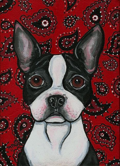 Art: Paisley Boston Terrier by Artist Melinda Dalke