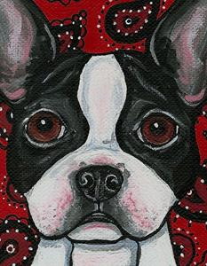 Detail Image for art Paisley Boston Terrier