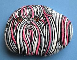 Art: Pink-Tzu Rock Dog by Artist Melinda Dalke