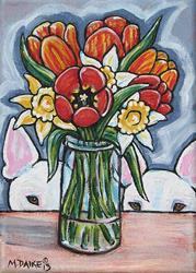Art: Spring Bouquet & Bull Terriers by Artist Melinda Dalke