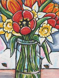 Detail Image for art Spring Bouquet & Bull Terriers