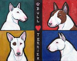 Art: Bull Terrier Love by Artist Melinda Dalke