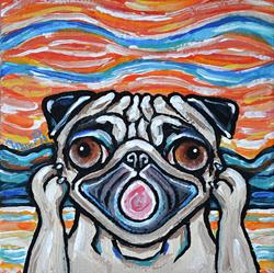 Art: Pug Scream by Artist Melinda Dalke