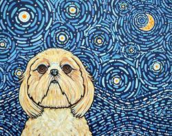 Art: Starry Night Shih Tzu 1 by Artist Melinda Dalke