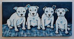 Art: Four Fab Blue Pups by Artist Melinda Dalke