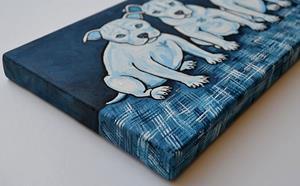 Detail Image for art Four Fab Blue Pups