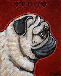 Art: fawn pug love by Artist Melinda Dalke