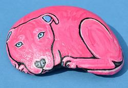 Art: Pink Pittie 1 Rock Art by Artist Melinda Dalke