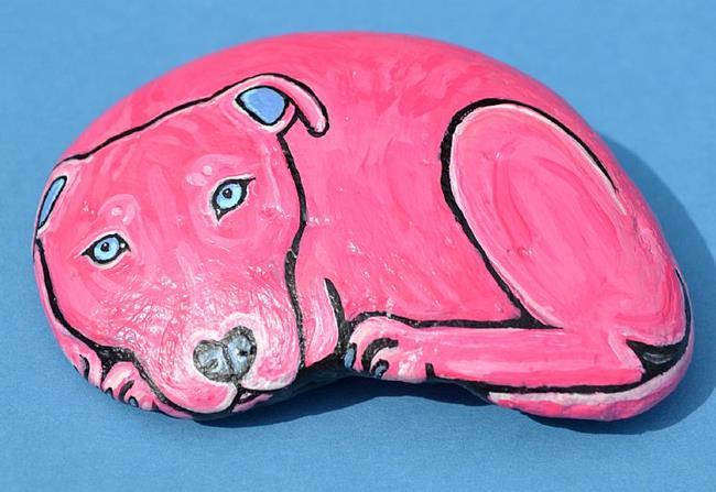 Art: Pink Pittie 1 Rock Art by Artist Melinda Dalke