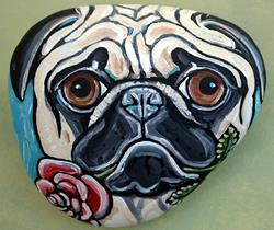 Art: Pug and Rose by Artist Melinda Dalke