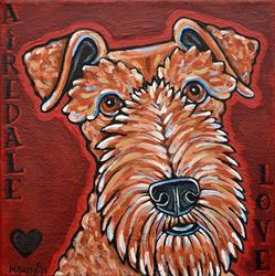 Art: Airedale Love 1 by Artist Melinda Dalke