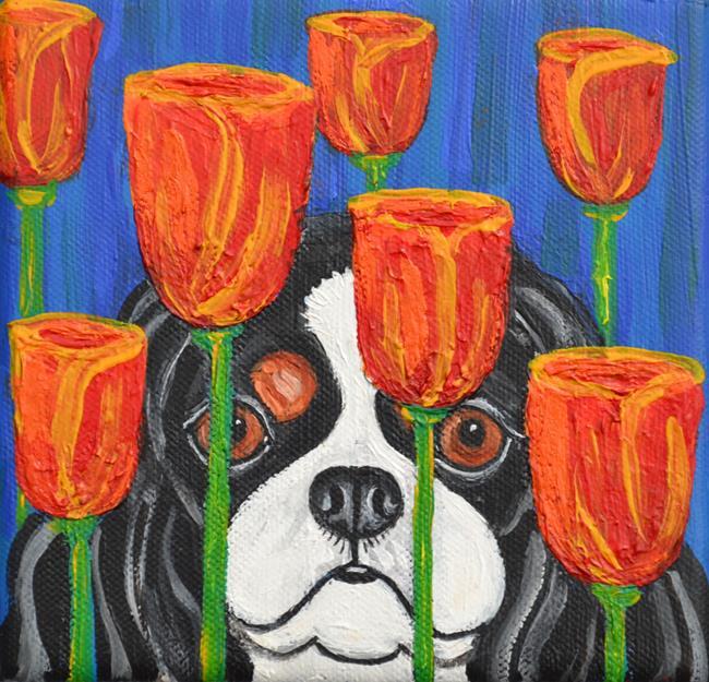 Art: Cavalier and Modern Tulips by Artist Melinda Dalke