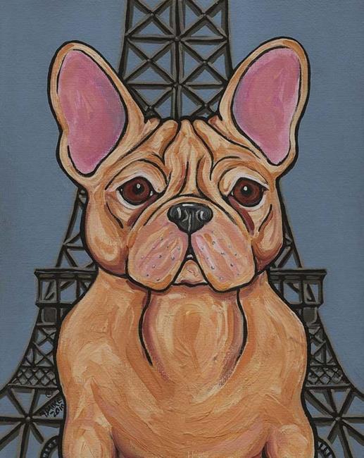 Art: Eiffel Tower Frenchie Dog by Artist Melinda Dalke