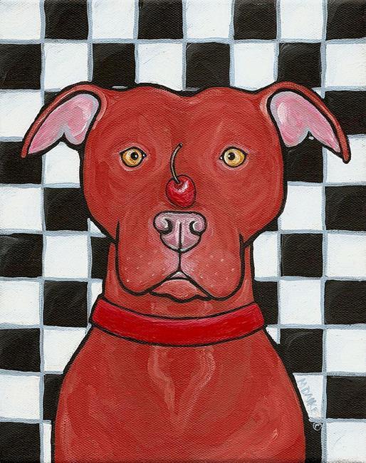 Art: Red Nose Cherry Pit by Artist Melinda Dalke