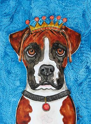 king boxer dog crown original watercolor art yupo painting. Black Bedroom Furniture Sets. Home Design Ideas
