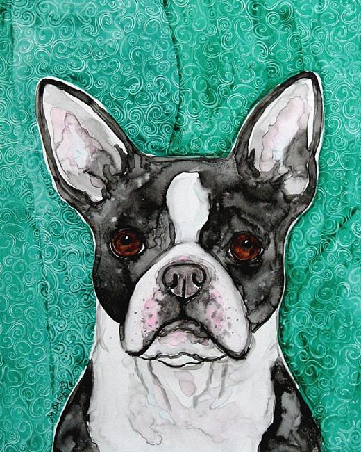 Art Boston Terrier Turquoise Wallpaper By Artist Melinda Dalke