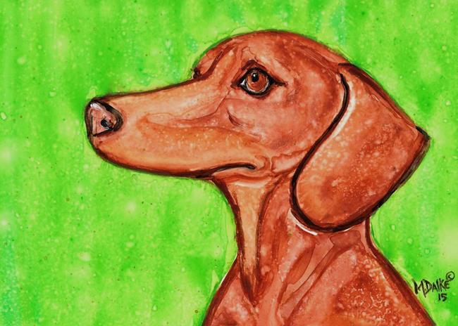 Art: Dachshund with Green Background 1 by Artist Melinda Dalke