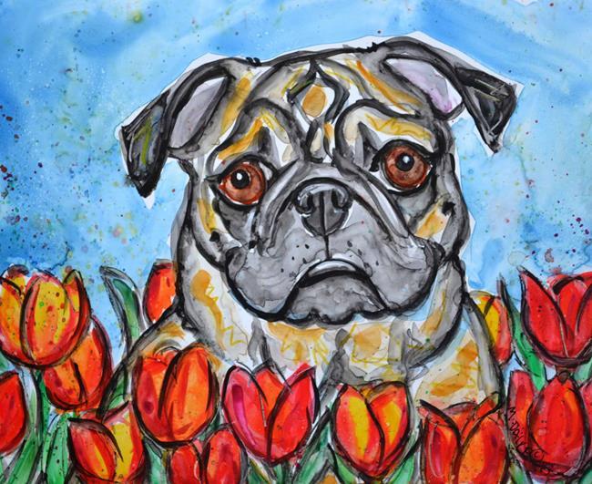 Art: Fawn Pug in Tulips by Artist Melinda Dalke