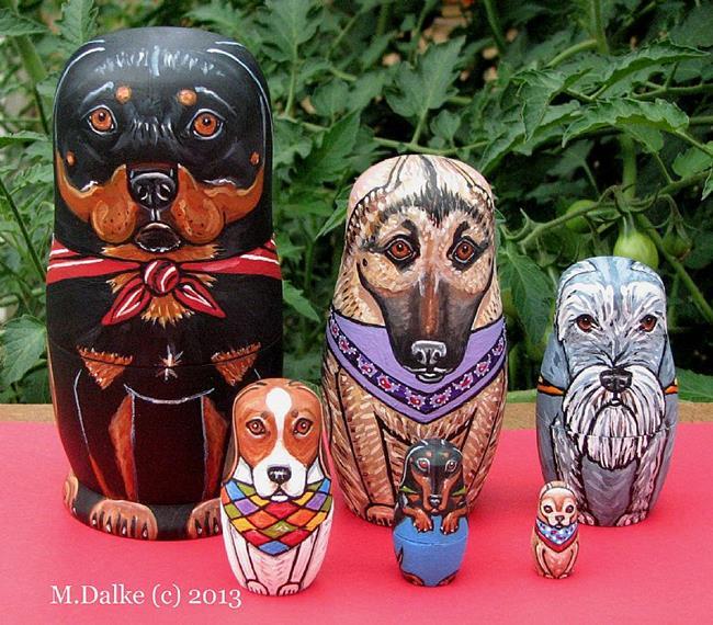 Art: Nesting Dogs - Mixed Breeds 2 by Artist Melinda Dalke