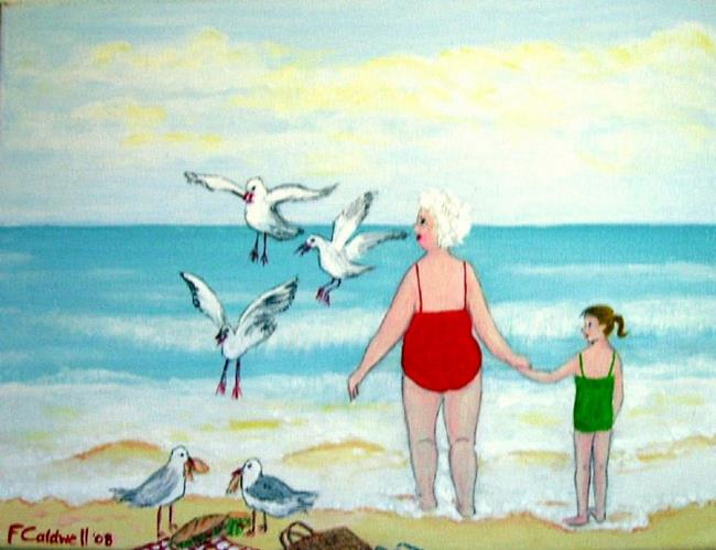 Art: Gran and the Gulls (Sold) by Artist Fran Caldwell