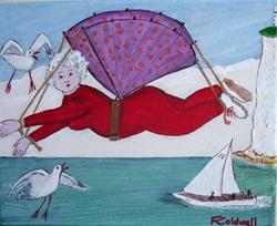 Art: Gran Flies The Channel (Sold) by Artist Fran Caldwell
