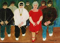 Art: Gran and the Rappers (SOLD) by Artist Fran Caldwell