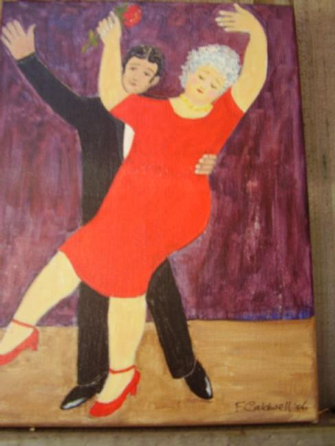 Art: Gran Learns to Tango (SOLD) by Artist Fran Caldwell