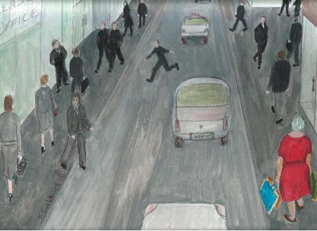 Art: Gran Likes a Day in The City (SOLD) by Artist Fran Caldwell