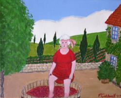 Art: Gran and the Grapes (Sold) by Artist Fran Caldwell