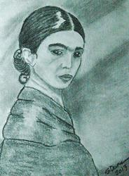 Art: Sullen Frida Kahlo by Artist Shari Lynn Schmidt