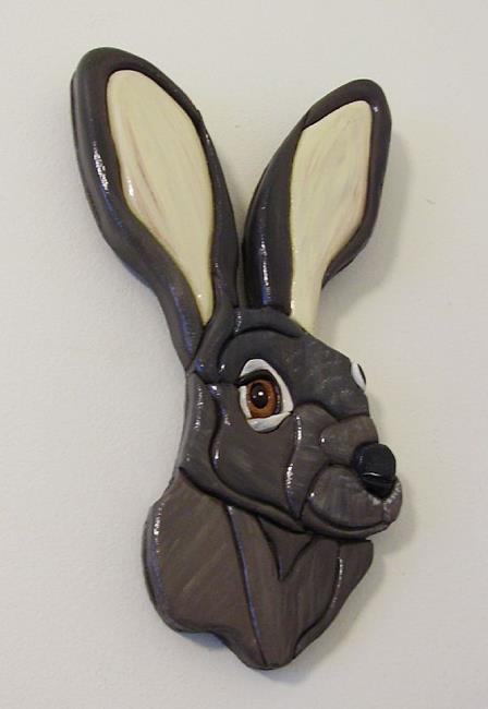 Art: Grey Rabbit/Hare by Artist Gina Stern