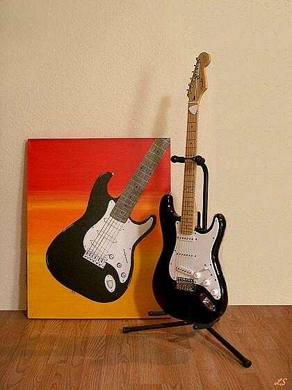 Art: My Electric Strat Guitar at Sunset by Artist Lar Shackelford