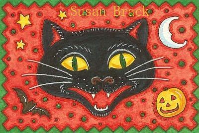Art: BLACK CAT CONFETTI POSTCARD by Artist Susan Brack