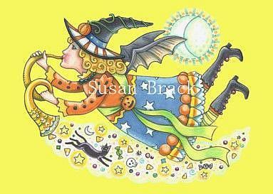 Art: MOONBEAMS AND BAT WINGS - Yellow by Artist Susan Brack