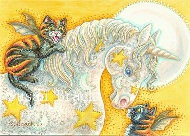 Art: WITCHS FLAMING BAT CATS AND UNICORN by Artist Susan Brack