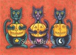 Art: BLACK CATS AND JACKS SEE NO EVIL by Artist Susan Brack