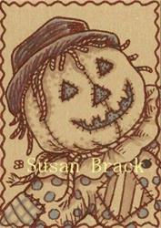 Art: SEPIA DOODLE SCARECROW - Orange by Artist Susan Brack