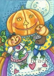 Art: PUMPKIN HEAD FAMILY by Artist Susan Brack