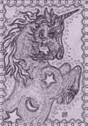 Art: NIGHT OF THE HALLOWEEN UNICORN - Stamp by Artist Susan Brack