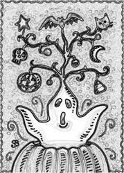 Art: HALLOWEEN SPIRIT - Stamp by Artist Susan Brack