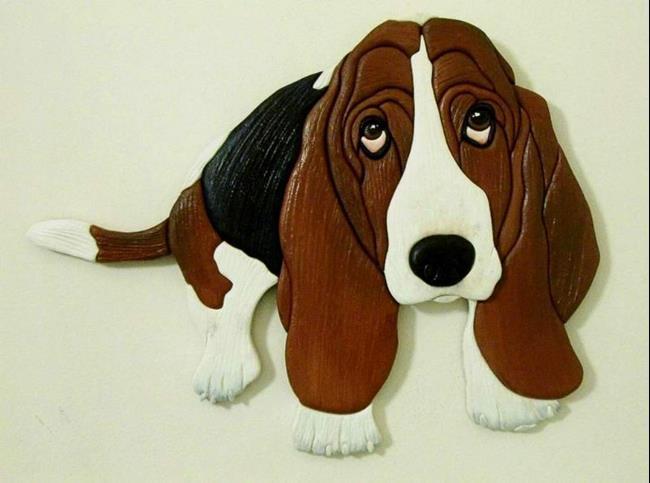 Art: 'HAROLD' BASSET HOUND.. ORIGINAL PAINTED INTARSIA ART by Artist Gina Stern